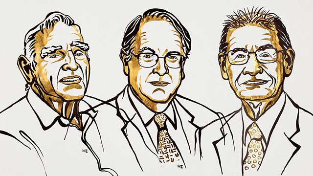 Illustration by Niklas Elmehed of the three laureates of the 2019 Nobel Prize in Chemistry (from left to right: John Goodenough, M. Stanley Whittingham and Akira Yoshino)