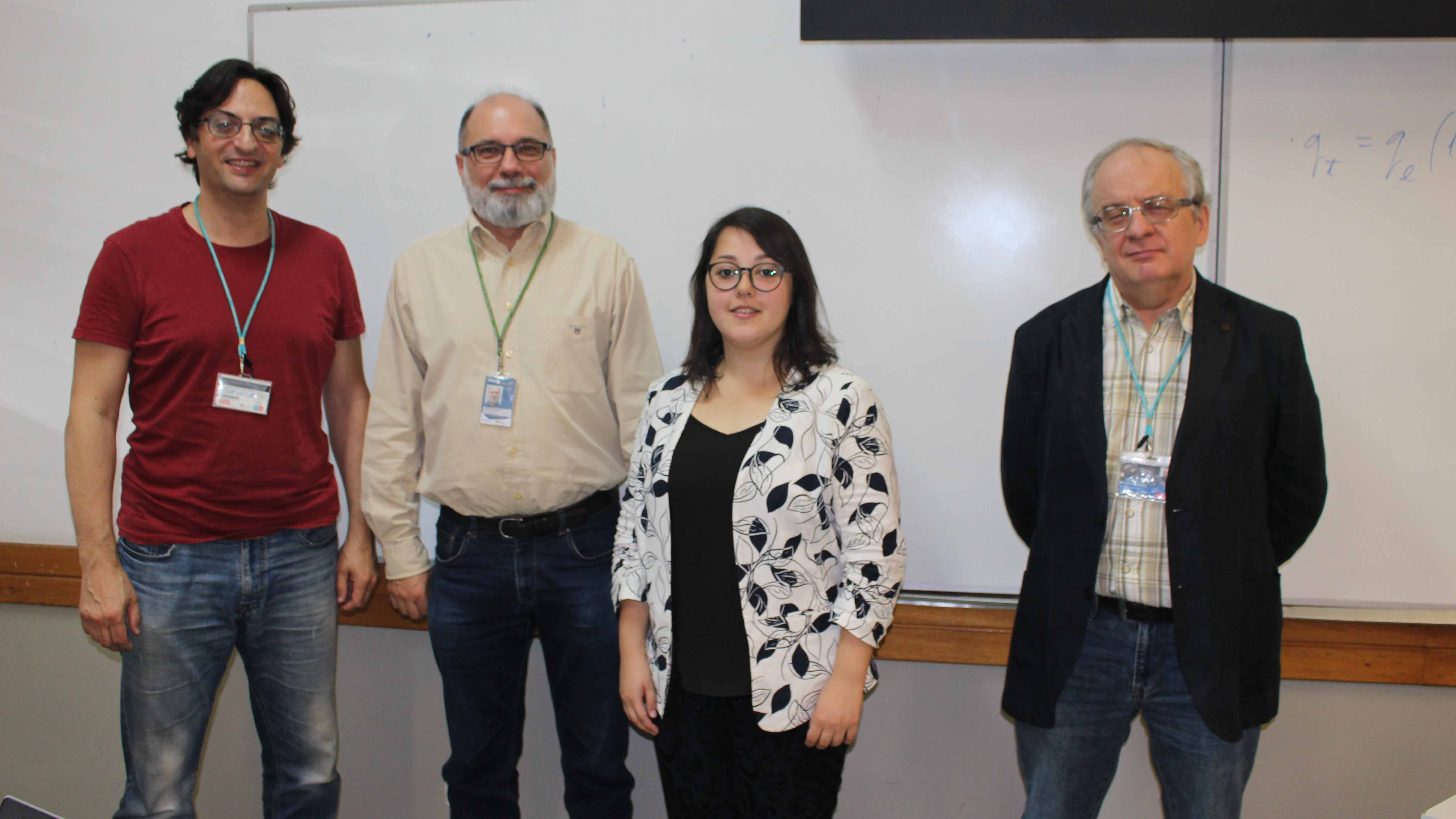 Master Sabriie Vatansever and the evaluation panel for her dissertation. From left to right: Professor Pedro Pires, Professor João Rodrigues, Master Sabriie Vatansever and Professor José Mesquita.