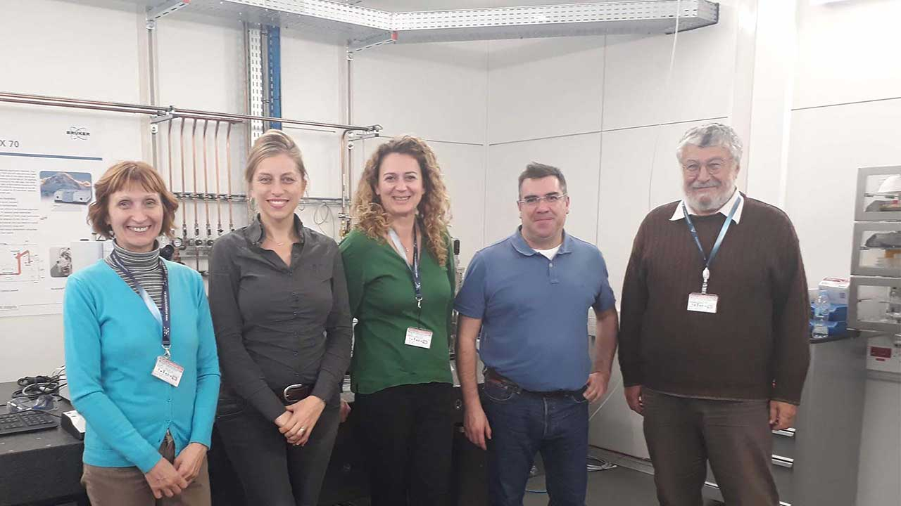 Photo of the researchers involved in the Subcellular characterization project: (from left to right) Ksenija Radotić, Tanja Dučić, M V. Martínez, M. Algarra and Željko Vučinić.