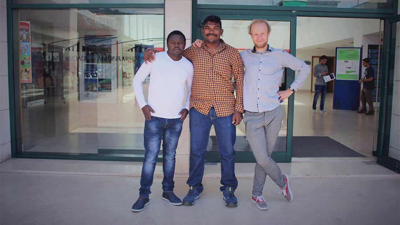 Cleophas Cheruiyot, Selva Kumar and Maciej Motyka, three of CQM's Erasmus researchers from the summer of 2018.
